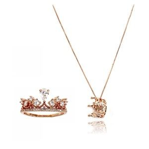 Fashion rose gold crown crystal ring necklace set